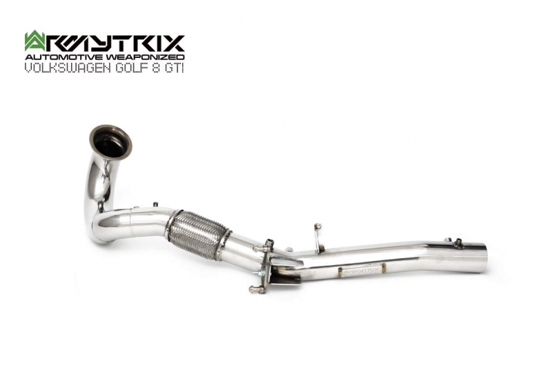 volkswagen golf 8 gti straight pipe down pipe armytrix exhaust decatted